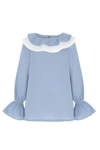 DAISY ruffled blouse/ Girls double ruffled collar and long sleeves