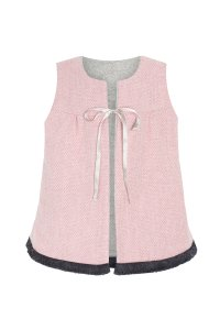 PIXIE vest /girl sleeveless vest with packets /child reversible fall winter vest /Pink with grey with fringe finish